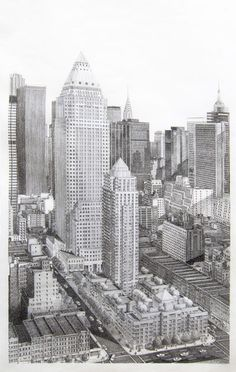 One Worldwide Plaza, Overall View. (Architect, David Childs for Skidmore, Owings, and Merrill) Fig Drawing, Create Drawing, Making Charcoal, Political Issues, Art And Architecture, San Francisco Skyline, New York Skyline, Overalls, Artsy