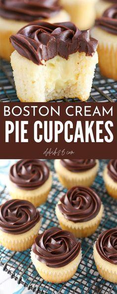 Boston Cream Pie Cupcakes, Cream Filled Cupcakes, Cupcake Recipes, Cupcake Cakes, Dessert Recipes, Creme Cupcake, Fondant, Apple Spice Cake, Moist Vanilla Cake