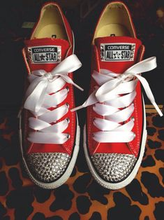 Rhinestone Converse with Ribbon Shoelaces. I need these in my life.