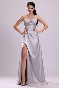Luxury Silver Satin Formal Gown - Order Link: http://www.theweddingdresses.com/luxury-silver-satin-formal-gown-twdn2282.html - Embellishments: Beading , Crystal , Ruched , ; Length: Sweep/Brush Train; Fabric: Satin; Waist: Natural - Price: 159.2USD
