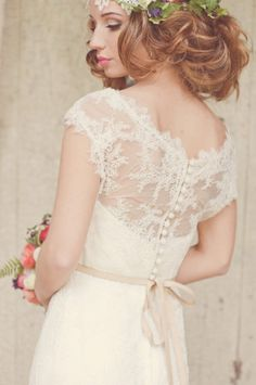 Lace wedding dress ... ivory gown ... Feminine bride- lace, fresh flowers, and beautiful soft hairstyle! ... Rustic glamorous, country elegance, shabby chic, vintage, whimsical, boho, best day ever