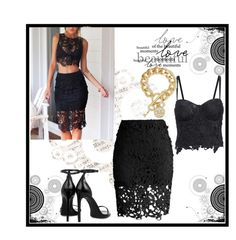 """""""sexy black !"""" by little-girl24 ❤ liked on Polyvore featuring Chicwish, Yves Saint Laurent and GUESS"""