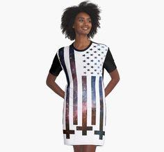 'Anti-Christ Galaxy Universe American Flag Alternative Modern Design' Graphic T-Shirt Dress by Fan Art Anti Christ, Galaxy Universe, Modern Graphic Design, American Flag, Chiffon Tops, Classic T Shirts, Alternative, Fan Art, Shirt Dress