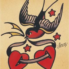 Sailor Jerry swallow with 2 hearts