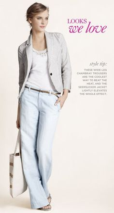 Dobby Stripe Seersucker Blazer, Necklace Racerback Tank, Chambray Sailor Trouser Pants, Sequin Stripe Canvas Tote - Ann Taylor Loft