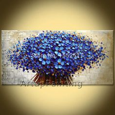 Blue flower abstract canvas painting ... from Google Images