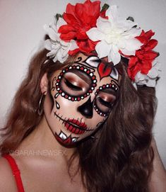 (notitle) - Halloween - Halloween MakeUp and Kostume Candy Skull Costume, Candy Skull Makeup, Halloween Makeup Sugar Skull, Cute Halloween Makeup, Candy Skulls, Clown Makeup, Halloween Looks, Costume Makeup, Catrina Costume