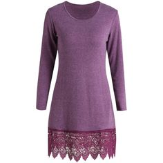 Stylish Scoop Neck Long Sleeve Solid Color Laciness Women s Dress (27 BAM) ❤ liked on Polyvore featuring dresses, long sleeve scoop neck dress, long sleeve purple dress, long sleeve lace dress, purple lace dress and long-sleeve lace dress