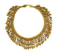 Antique gold fringe necklace by Castellani, Italian c.1860 , the fine three-row woven necklace suspending a fringe flowerheads, chain and amphorae, with turquoise and lapis lazuli coloured enamel highlights, signed to reverse of clasp.