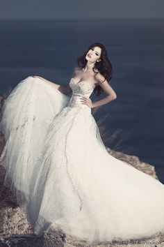 Julia Kontogruni Wedding Gown - Strapless with sweetheart bodice adorned with crystals and beads