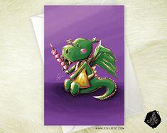 Carte de voeux Dragon et chamallows Amitié Anniversaire