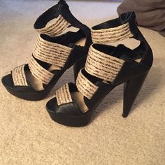 Steven by Steve Madden Heels Black with woven straps. Good condition. Size 6. 5 inch heel Steven by Steve Madden Shoes Heels