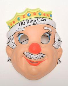 Ole+King+Cole++plastic+Vintage+Collegeville+Ben+Cooper+Halloween+Mask+NR+