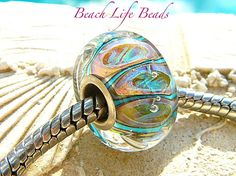 TIKI LIGHTS OPAL Fully Lined Sterling Silver Big Hole Bead for Trollbeads Chamilia and European Charm Handmade Lampwork