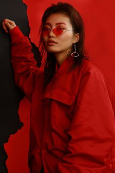 ESC STUDIO see RED | 70's glasses + jacket + Asian beauty