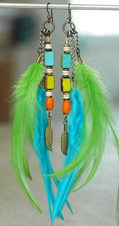 Caribbean Feather Earrings: Exotic Island Inspired Turquoise, Lime and Orange Feather Earrings Click to buy
