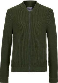 Green Waffle Bomber Sweater on shopstyle.com