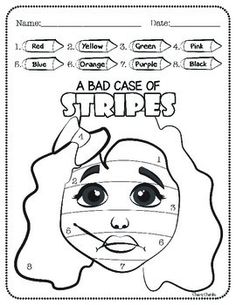 """A Bad Case of STRIPES - ActivitiesThese highly engaging David Shannon - author of """"A Bad Case of Stripes"""" themed activities are sure to be a hit with your young learners. Includes:- Color by Numbers- Draw and Write favorite part of the book- Favorite food Reading Resources, Math Resources, Book Activities, Bad Case Of Stripes, Mo Willems, Library Lessons, Math Lessons, Author Studies, Elementary Math"""