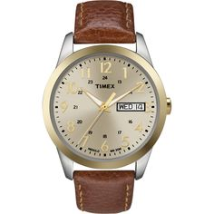 Timex Men's Elevated Classics Dress Brown Leather Strap Watch | Overstock.com Shopping - The Best Deals on Timex Men's Watches