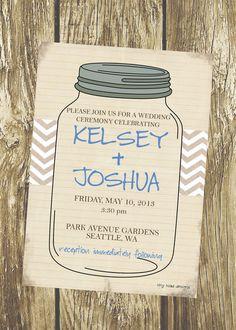 Rustic Mason Jar Wedding Invitation DIY by TinyToadDesigns on Etsy, $12.00