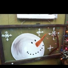 2015 christmas diy snowman and snowflake glitter wooden window frame - hand painted, christmas crafts