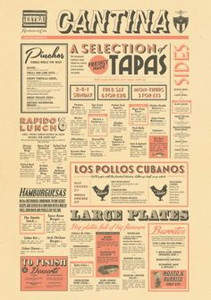 This is almost exactly what I was thinking in terms of layout for the newsletter. Fun light pops of color with expressive type -- fun, classic, retro. Tapas Restaurant, Restaurant Menu Design, Tapas Bar, Restaurant Branding, Menu Bar, Dinner Menu, Vintage Menu, Vintage Graphic, Vintage Decor