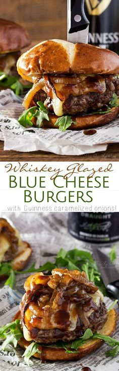 Whiskey-Glazed-Blue-Cheese-Burgers   These blue cheese burgers are brushed with a homemade whiskey glazed, topped with Irish cheese, and smothered in Guinness caramelized onions!   http://thechunkychef.com