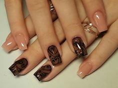 Fashionable manicure with a picture - great photo ideas of nail art for stylish women Shellac Nails, Stiletto Nails, Acrylic Nails, Joy Nails, Beauty Nails, Elegant Nails, Stylish Nails, Acrylic Nail Designs, Nail Art Designs