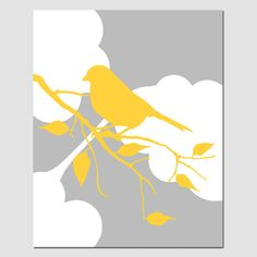 Bird in the Clouds - 8x10 Nursery Art Print - Bird on a Branch Silhouette - Choose Your Colors - Shown in Yellow and Gray on Etsy, $20.00