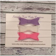 Lavender White and Pink Felt Bow by SimplyTooCuteCouture on Etsy