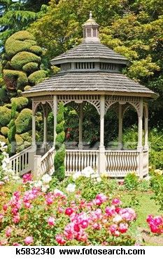 Wooden gazebo in rose garden View Large Photo Image