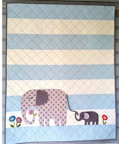 E is for Elephant II Quilt Kit with Bacvking Fabric Included