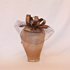 Handmade coffee brown coloured small ladies formal occasion hat with beading detail