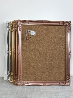 Stunning noticeboard with ornate frame and push pin board made from thick quality cork. Ideal for decorative pins or your Disney pin collection Painting Corkboard, Gold Office Decor, Trendy Home, White Gold, Silver, Push Pin Boards, Feminine Office, Board Paint, Rococo Style