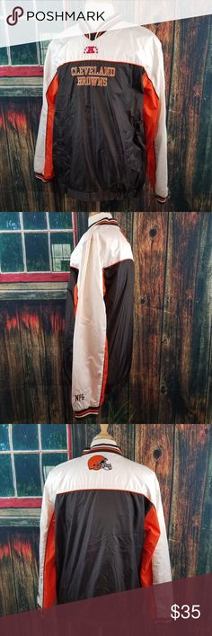 NFL CLEVELAND BROWNS PULLOVER WINDBREAKER NFL CLEVELAND BROWNS UNISEX PULLOVER WINDBREAKER WITH 2 POCKETS ON THE FRONT  SIZE MEDIUM (PLEASE SEE MEASUREMENTS)  GOOD PRE-OWNED CONDITION WITH NO RIPS, TEARS OR STAINS  #2171  ** Please Remember all Clothing Items may fit differently depending on Brand, Fit, Use or Prior customization. We strongly urge our customer's to check measurements first to guarantee proper fitting. NFL Jackets & Coats Windbreakers