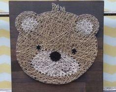 String Art Bear, Teddy Bear Wall Art, Bear Theme Nursery, Woodland Nursery…