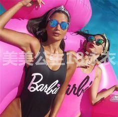 Women Girl Barbie Doll One-Piece Swimsuit Bathing Monokini Push Up Swimwear Pop Retro Swimwear, Swimwear Brands, Women's Swimwear, Black Swimsuit, One Piece Swimsuit, Girls Work, High Street Fashion, Retro Bathing Suits, One Piece Suit
