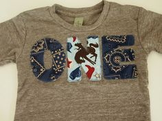 Cowboy Western Birthday Shirt Bandana Paisley print Organic Blend Birthday Tee Horses Farm Cowboy Hat detail first second third birthday