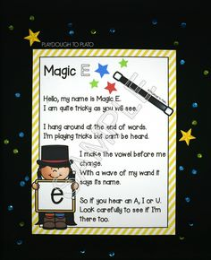 Memorable magic E poster for kids! So helpful for teaching CVCe words in kindergarten and first grade.