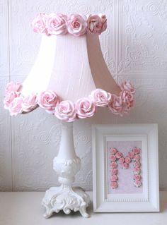 Pink Dupioni Silk and Roses Table Lamp, Vintage Lighting, Kids Lighting, Nursery Chandeliers, Kids Lamps, Shabby Chic Lighting, Nursery Lamps, A vinta