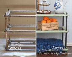 Chalk paint sofa table before and after. How to DIY chalk paint a sofa table. #chalkpaint #sofatable #chalkpaintideas #diyideas #diyfurniture