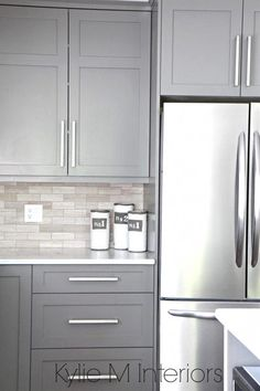 The 9 Best Benjamin Moore Paint Colors – Grays (Including Undertones) Kitchen cabinets painted Benjamin Moore Amherst Gray, driftwood marble backsplash with stainless steel. Design by Kylie M Interiors E-Design, Vancouver Island Decorating Services White Kitchen Cabinets, Diy Kitchen, Kitchen Decor, Kitchen Hacks, Rustic Kitchen, Kitchen White, Kitchen Layout, Gray Kitchen Paint, Awesome Kitchen