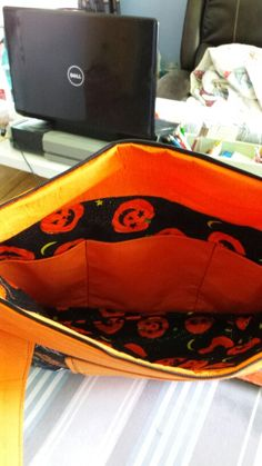 Inside of quilted purse.