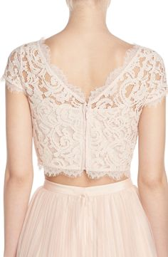 Lace Crop Top & tulle skirt in blush by Adrianna Papell