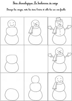 Printable game Kindergarten activities Winter: Time series: the snowman 1 - Kinderspiele Sequencing Activities, Preschool Worksheets, Kindergarten Activities, Capital Alphabet, Time Series, Dog Shampoo, Winter Activities, All Things Christmas, Kids And Parenting