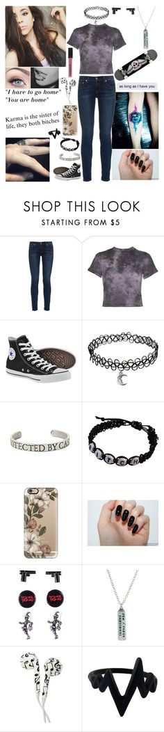 """Tired of life"" by emmcg915 ❤ liked on Polyvore featuring rag & bone, Alice + Olivia, Converse, Hot Topic, Casetify, Smashbox and ...Lost"