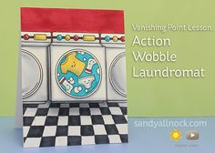 Sandy Allnock Action Wobble Laundromat card using Lawn Fawn Loads of Fun stamps