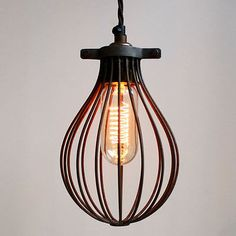 RUST effect BALLOON cage for a industrial, vintage style pendant light or lamp
