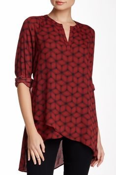 Pleione | Print Layered Split Neck Tunic | Nordstrom Rack