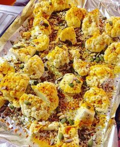 RECIPE: Turmeric cauliflower with toasted mixed seeds Turmeric Cauliflower, Cauli Rice, Serving Size, Stir Fry, Low Carb Recipes, Side Dishes, Fries, Roast, Seeds